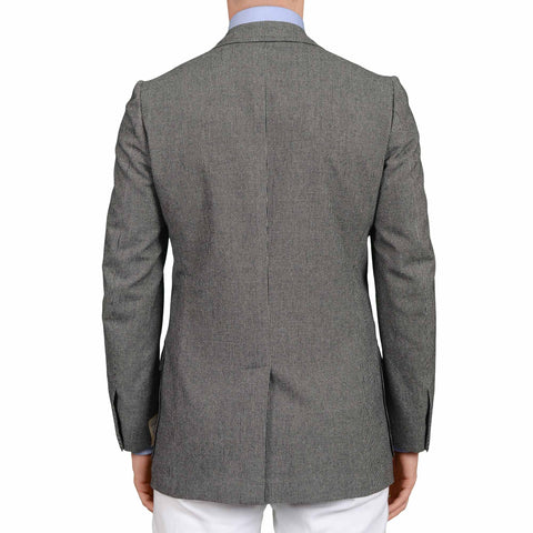 D'AVENZA Handmade Gray Wool Cashmere Unlined Blazer Jacket EU 48 NEW US 38