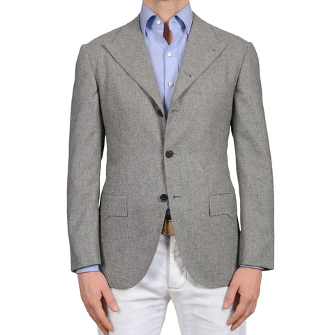 D'AVENZA Handmade Gray Wool Flannel Peak Lapel 4 Button Jacket EU 50 NEW US 40