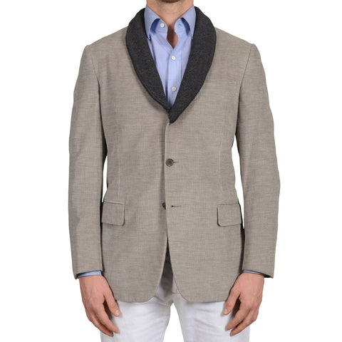 D'AVENZA Roma Gray Cotton-Cashmere Corduroy Shawl Collar Jacket EU 50 NEW US 40