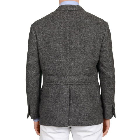 "D'AVENZA ""FORTE"" Handmade Gray Flannel Unlined Blazer Jacket EU 52 NEW US 42"