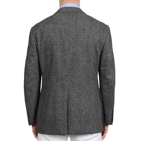 D'AVENZA Handmade Gray Wool Donegal Jacket with Cotton Lining EU 50 NEW US 40
