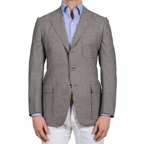 D'AVENZA Roma Handmade Gray Wool Unlined Flannel Jacket Sport Coat NEW