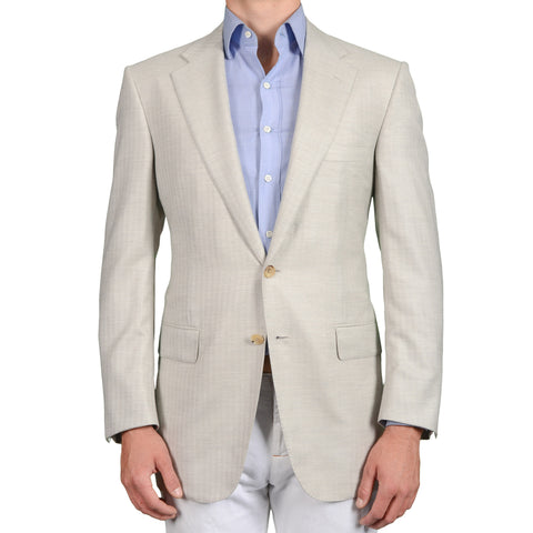 D'AVENZA Handmade Light Gray Herringbone Cashmere-Silk Jacket EU 52 NEW US 42