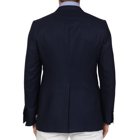 D'AVENZA Handmade Navy Blue Herringbone Wool Silk Jacket EU 50 NEW US 40