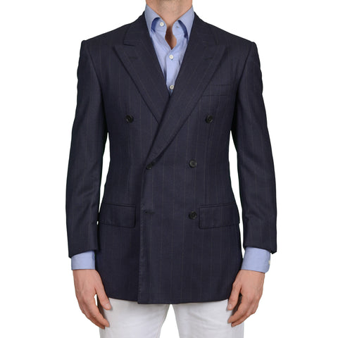 D'AVENZA Handmade Navy Blue Striped Cashmere DB Blazer Jacket EU 50 NEW US 40