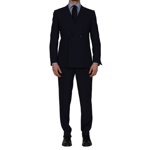 D'AVENZA Handmade Navy Blue Wool DB Suit EU 50 NEW US 40 Slim Fit