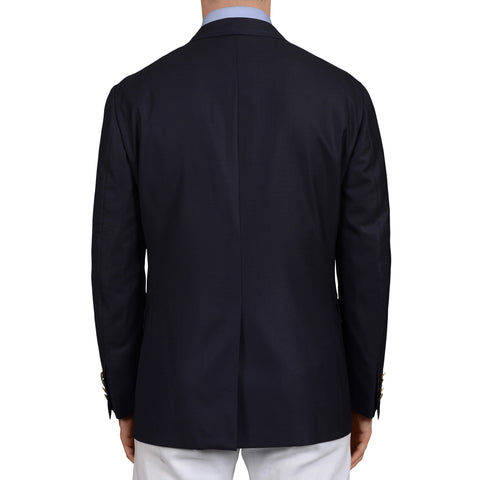D'AVENZA Roma Handmade Navy Blue Wool Super 100's Blazer Jacket EU 50 NEW US 40
