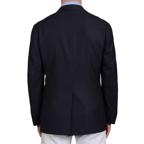D'AVENZA Roma Handmade Navy Blue Wool Textured Blazer Jacket EU 50 NEW US 40