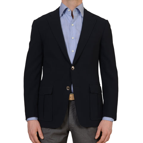 D'AVENZA Handmade Navy Blue Wool Silk Lined Blazer Jacket NEW