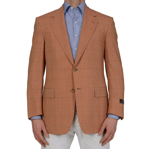 D'AVENZA Roma Handmade Windowpane Wool Blazer Jacket NEW