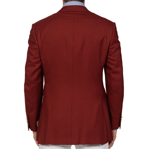 D'AVENZA Handmade Red Cashmere Silk Blazer Jacket EU 50 NEW US 40