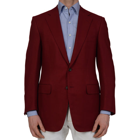 D'AVENZA Handmade Red Lambs Wool Blazer Jacket EU 50 NEW US 40