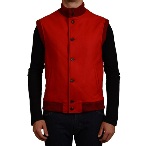 D'AVENZA Handmade Red Wool Flannel Vest EU 50 NEW US 40