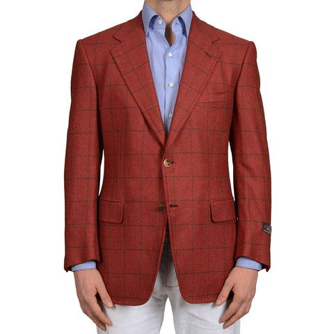 D'AVENZA Roma Handmade Red Plaid Cashmere-Silk Jacket Sport Coat EU 50 NEW US 40