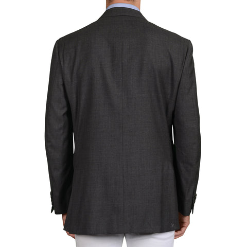 "D'AVENZA ""Ischia"" Handmade Gray Wool Super 120's DB Blazer Jacket 56 NEW US 46"