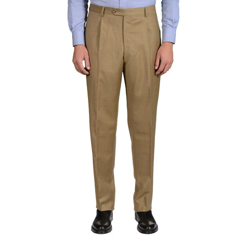 D'AVENZA Khaki Lessona Wool-Cashmere SP Dress Pants EU 56 NEW US 40 Classic Fit