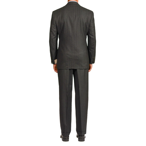 "D'AVENZA Roma ""Angera"" Dark Gray Striped Wool Flannel DB Suit EU 50 NEW US 40"