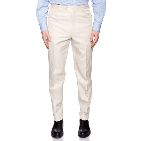 D'AVENZA Roma Beige Cotton Casual Pants EU 50 NEW US 34 Classic Fit