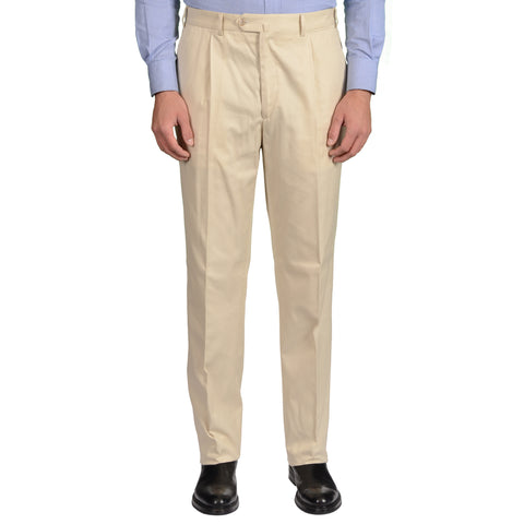 D'AVENZA Roma Beige Cotton SP Dress Pants EU 52 NEW US 36 Classic Fit