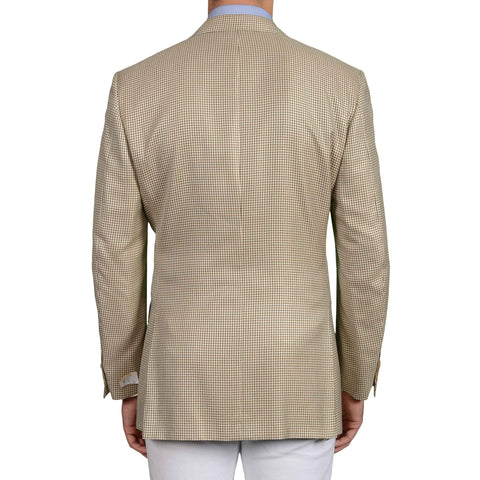 D'AVENZA Roma Beige Houndstooth Silk-Wool Super 120's Jacket EU 52 NEW US 42