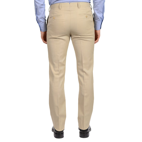 D'AVENZA Roma Beige Wool-Cotton Flat Front Dress Pants 48 NEW US 32 Regular Fit