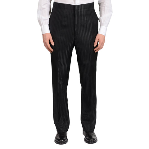D'AVENZA Roma Black Striped Wool-Silk Flat Front Dress Pants 50 NEW US 34