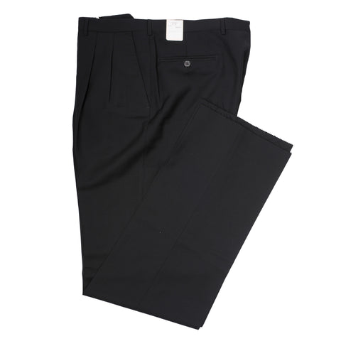 D'AVENZA Roma Black Wool-Mohair DP Dress Pants EU 56 NEW US 40