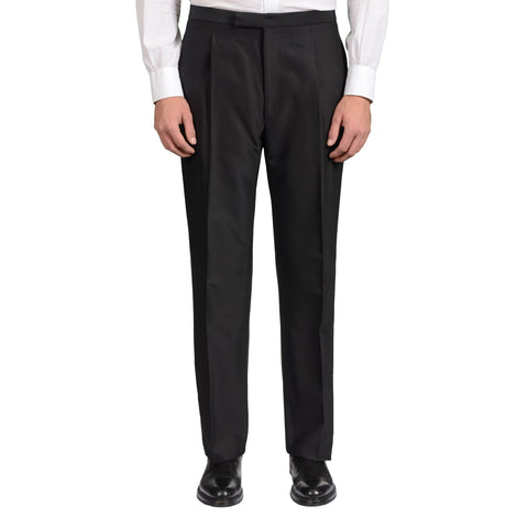D'AVENZA Roma Black Wool-Silk SP Tuxedo Dress Pants EU 50 NEW US 34 Classic Fit
