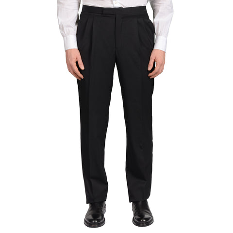 D'AVENZA Roma Black Wool DP Tuxedo Dress Pants EU 48 NEW US 32