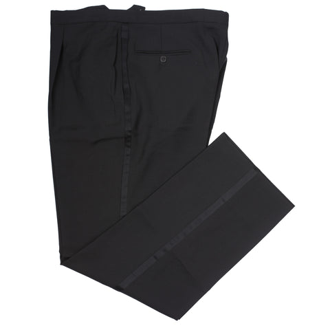 D'AVENZA Roma Black Wool Single Pleated Tuxedo Dress Pants EU 56 NEW US 40