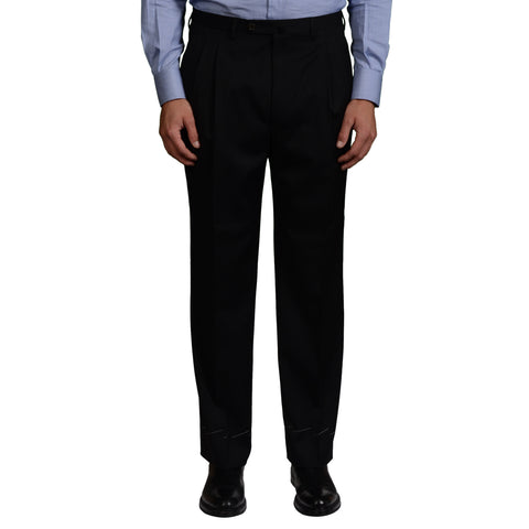 D'AVENZA Roma Black Wool Twill DP Dress Pants NEW Classic Fit