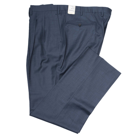 D'AVENZA Roma Blue Wool DP Dress Pants EU 58 NEW US 42 Classic Fit