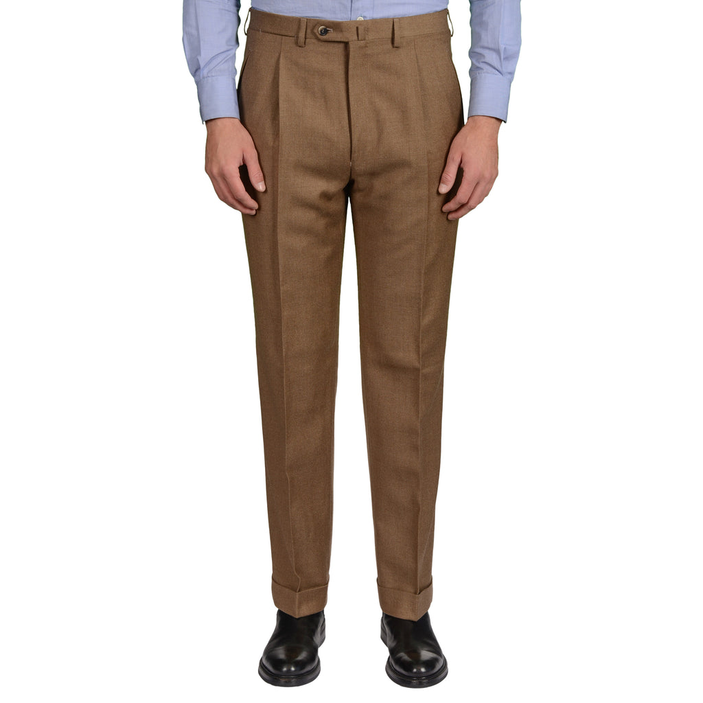 caec7fefce D AVENZA Roma Brown Wool Flannel SP Dress Pants EU 50 NEW US 34 ...