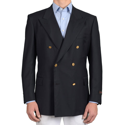 "D'AVENZA ""Capri"" Handmade Navy Blue Wool DB Blazer Jacket EU 54 NEW US 44"