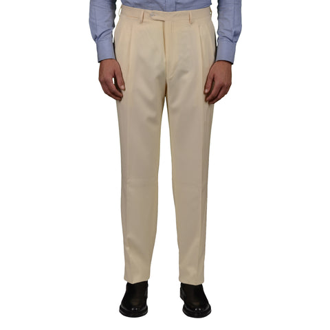 D'AVENZA Roma Cream Wool DP Dress Pants EU 54 NEW US 38 Classic Fit