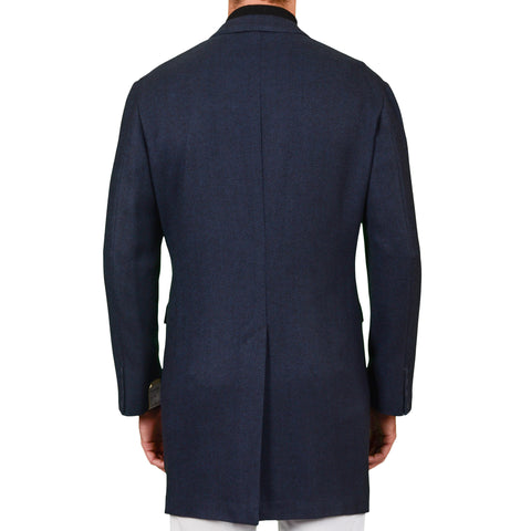 "D'AVENZA Roma ""Federico"" Blue Herringbone Cashmere Unlined Coat EU 52 NEW US L"