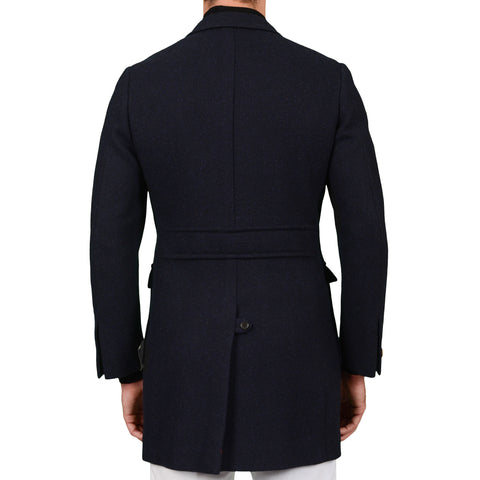 "D'AVENZA Roma ""Forte"" Handmade Blue Wool-Mohair Unlined Coat EU 48 NEW US S"