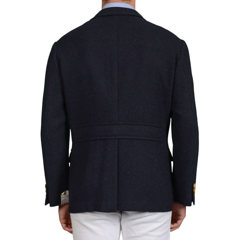 "D'AVENZA Roma ""Forte"" Handmade Dark Blue Wool Unlined Jacket EU 56 NEW US 46"