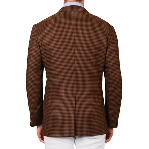 "D'AVENZA Roma ""Gianni"" Brown Plaid Wool-Cashmere DB Jacket EU 52 NEW US 42"