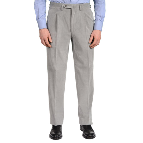 D'AVENZA Roma Gray Cotton-Silk Corduroy SP Pants EU 48 NEW US 32 Classic Fit