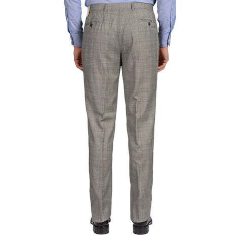 D'AVENZA Roma Gray Plaid Wool SP Dress Pants EU 50 NEW US 34 Classic Fit