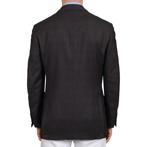 D'AVENZA Roma Gray Plaid Wool Super 150's Flannel Jacket EU 50 NEW US 40