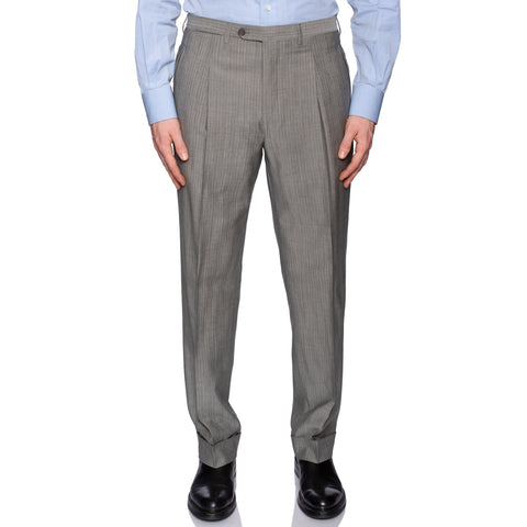 D'AVENZA Roma Gray Striped Wool-Mohair SP Dress Pants EU 50 NEW US 34 Classic Fit