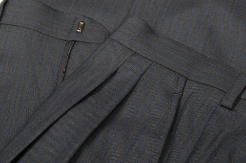 D'AVENZA Roma Gray Striped Wool DP Dress Pants EU 46 NEW US 30 Portly Fit