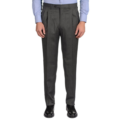 D'AVENZA Roma Gray Striped Wool DP Dress Pants EU 52 NEW US 36 Regular Fit