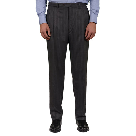 D'AVENZA Roma Gray Striped Wool DP Dress Pants EU 54 NEW US 38 Classic Fit