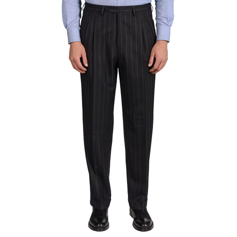 D'AVENZA Roma Gray Striped Wool Flannel DP Dress Pants 50 NEW US 34 Classic Fit