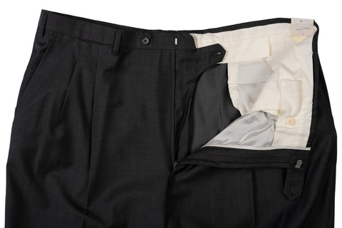 D'AVENZA Roma Dark Gray Wool DP Dress Pants EU 60 NEW US 44 Classic Fit