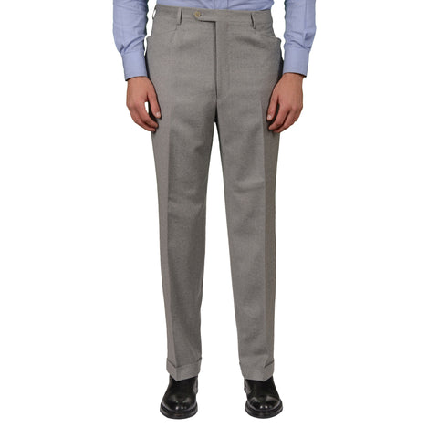 D'AVENZA Roma Gray Wool Flannel Flat Front Dress Pants 54 NEW US 38 Classic Fit