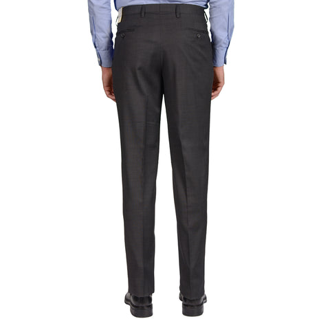 D'AVENZA Roma Gray Wool Textured SP Dress Pants EU 50 NEW US 34 Classic Fit